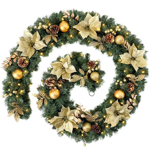Extra-Thick Decorated Pre-Lit Garland with 80 Warm White LED Lights, Cream/Gold, 9 ft