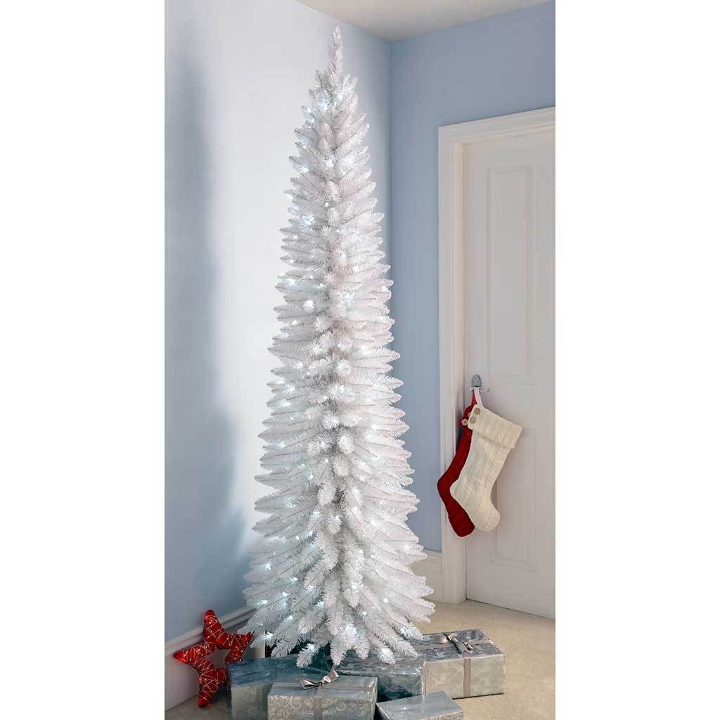 Pre-Lit White Pencil Christmas Tree with 180 LED Lights, 6.5 ft ...