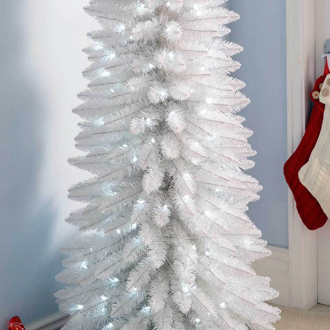 Pre-Lit White Pencil Christmas Tree with 180 LED Lights, 6.5 ft/1.95 m