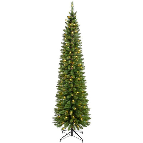 Pre-Lit Green Pencil Christmas Tree with 180 LED Lights, 6.5 ft/1.95 m