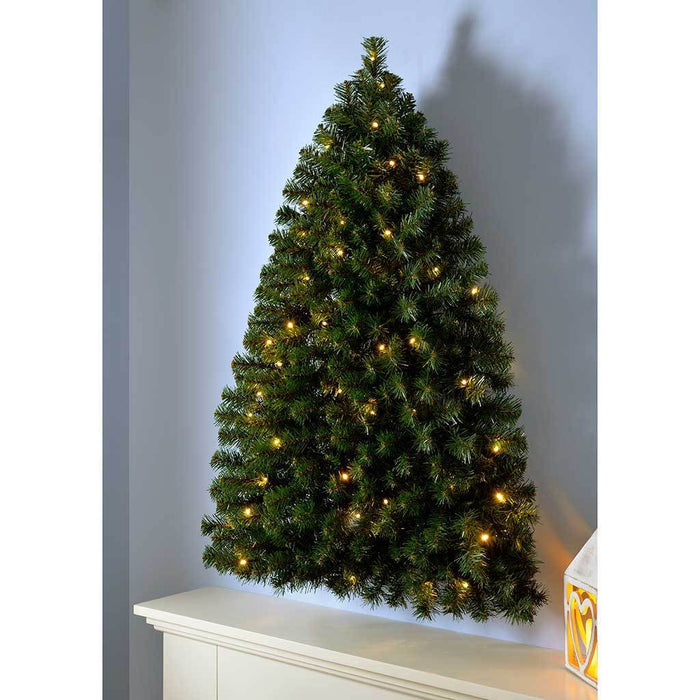 Werchristmas Pre Lit Green Wall Mounted Christmas Tree With 50 Warm Wh