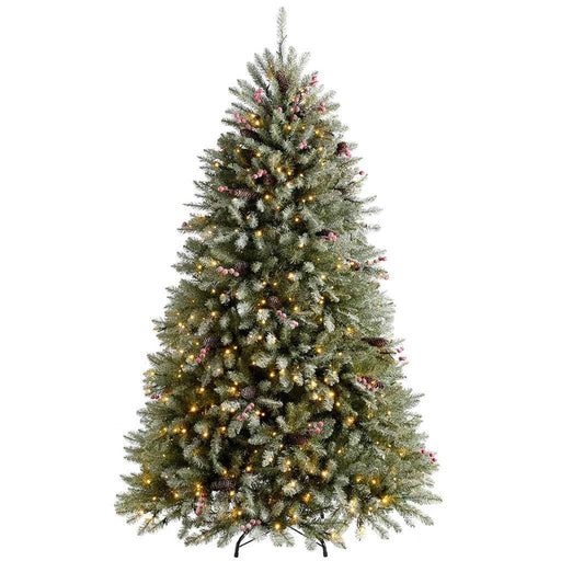 WeRChristmas Pre-Lit Decorated Snow Flocked Christmas Tree 500 Warm White LED Lights, 6 ft/1.8 m - Green