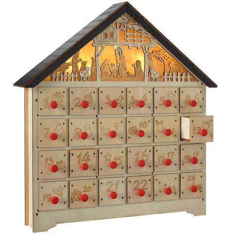 36 cm Pre-Lit Wooden Nativity Scene Advent Calendar Christmas Decoration, Multi-Colour
