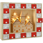 29 cm Pre-Lit Wooden Church Scene Advent Calendar Christmas Decoration, Multi-Colour