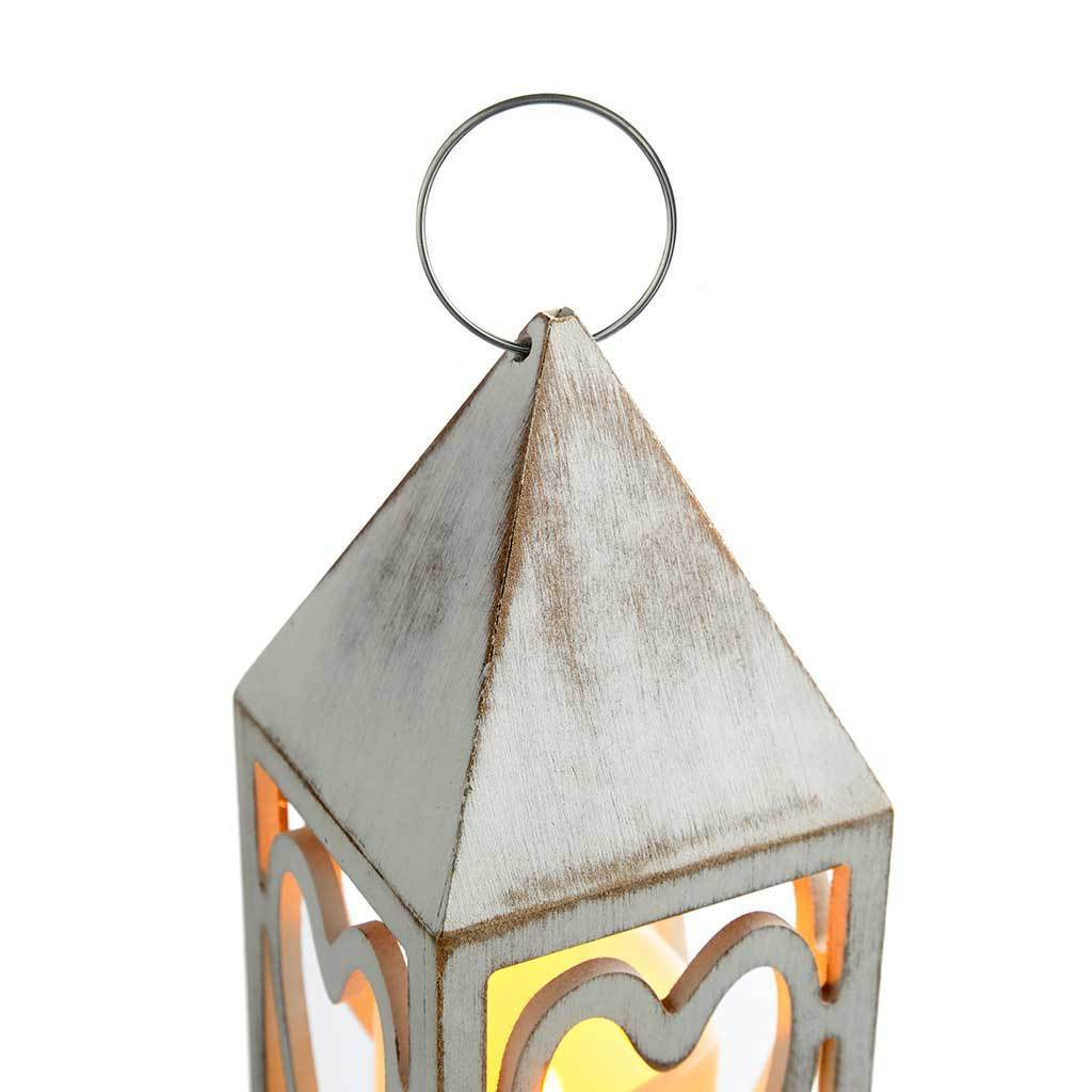 Pre-Lit Heart Lantern Christmas Decoration, Wood, 21.5 cm - Red and White