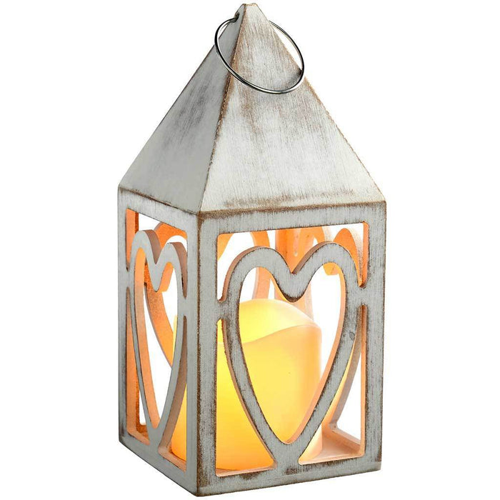 Pre-Lit Heart Lantern Christmas Decoration, Wood, 21.5 cm - Red and White | WeRChristmas