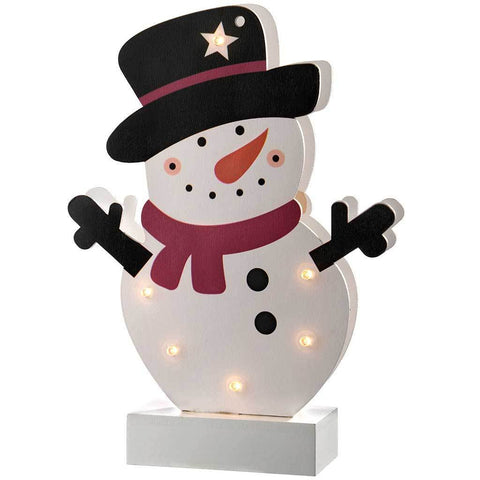 Pre-Lit Colourful Snowman Table Christmas Decoration, Wood, 24 cm