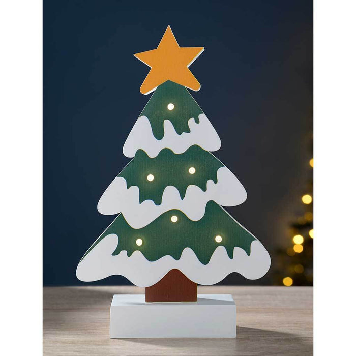 Pre-Lit Colourful Tree Table Christmas Decoration, Wood, 26 cm - Multi-Colour