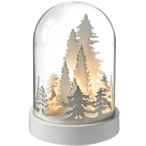 Pre-Lit Trees Bell Jar Warm LED Christmas Decoration, Wood, 18.5 cm - White