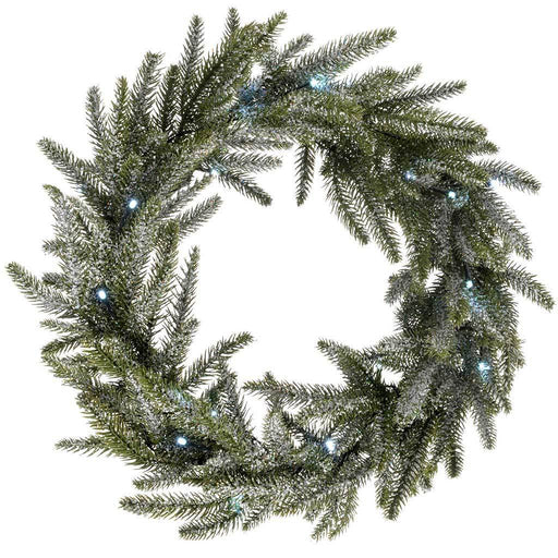 Frosted Pre-Lit Fir Wreath Illuminated with 20 White LED Lights, 50 cm - Silver