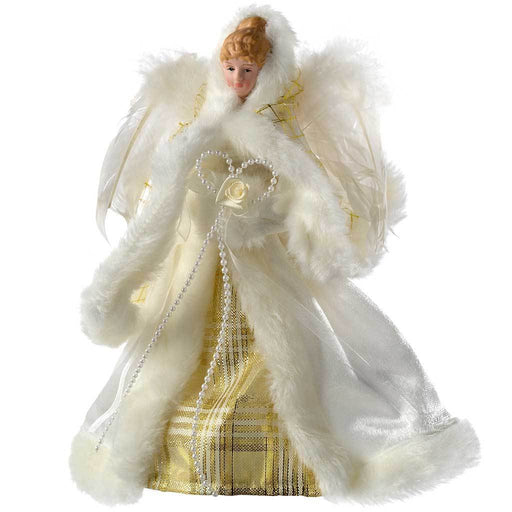 Angel Christmas Tree Topper with Feather Wings, 26 cm - Cream/Gold
