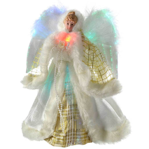 Pre-Lit Fibre Optic Angel Christmas Tree Topper with Feather Wings, 25 cm - Cream/Gold