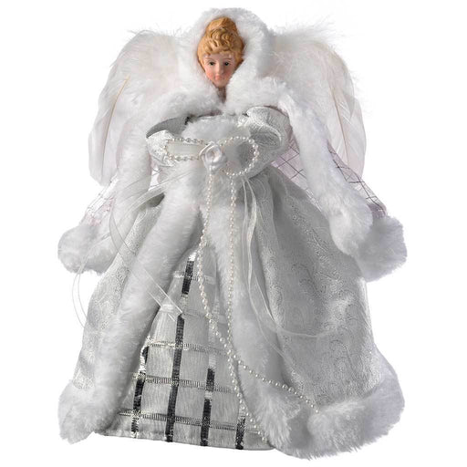 Angel Christmas Tree Topper with Feather Wings, 26 cm - White/Silver