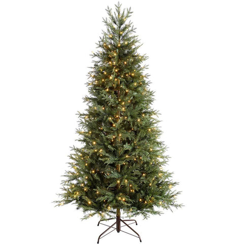 WeRChristmas Pre-Lit Mountain Pine Natural Bark Multi-Function Christmas Tree, 200 LED Lights, 5 ft/1.5 m