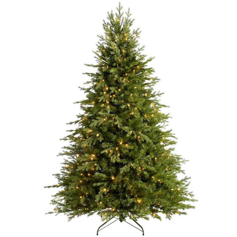Grand Alaskan Fir Pre-Lit  Multi Function Christmas Tree with Warm White LED Lights, 8 Setting Controller & Easy Build Hinged Branches