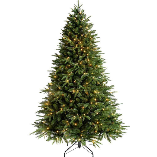 WeRChristmas Pre-Lit Windsor Fir Multi-Function Christmas Tree with 600 Warm White LED Lights, 8 ft/2.4 m
