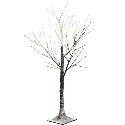 Pre-Lit LED Twig Tree with Snow Effect Decoration, 3 ft/90 cm - Brown/Warm White