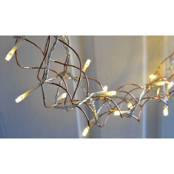Pre-Lit Wreath Christmas Light, Warm White LED's, Copper, 40 cm