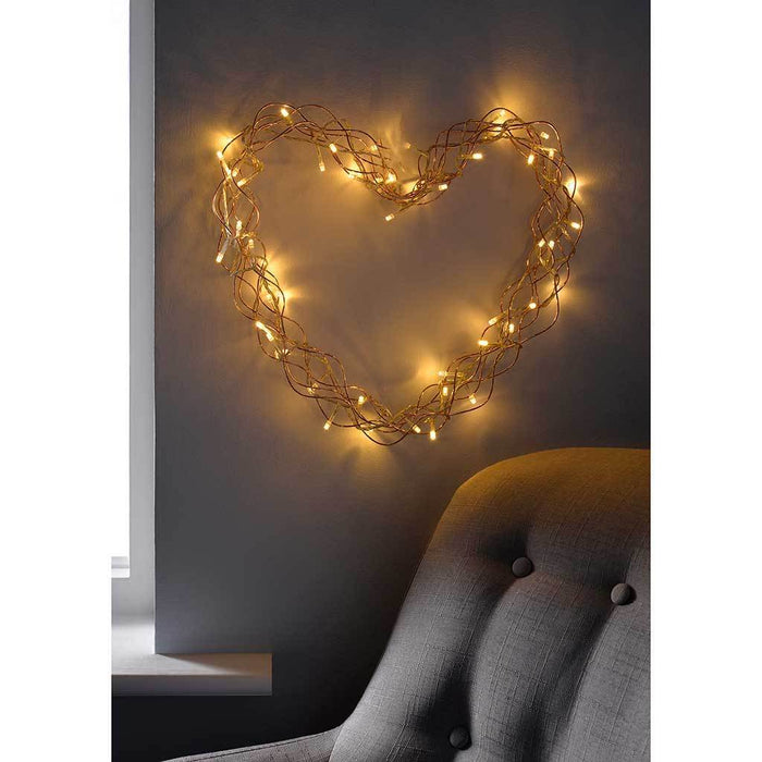 Pre-Lit Heart Christmas Light, Warm White LED's, Copper, 40 cm