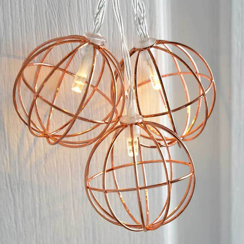 Copper Wire Ball Light String Christmas Decoration with 10- Warm White LED Lights