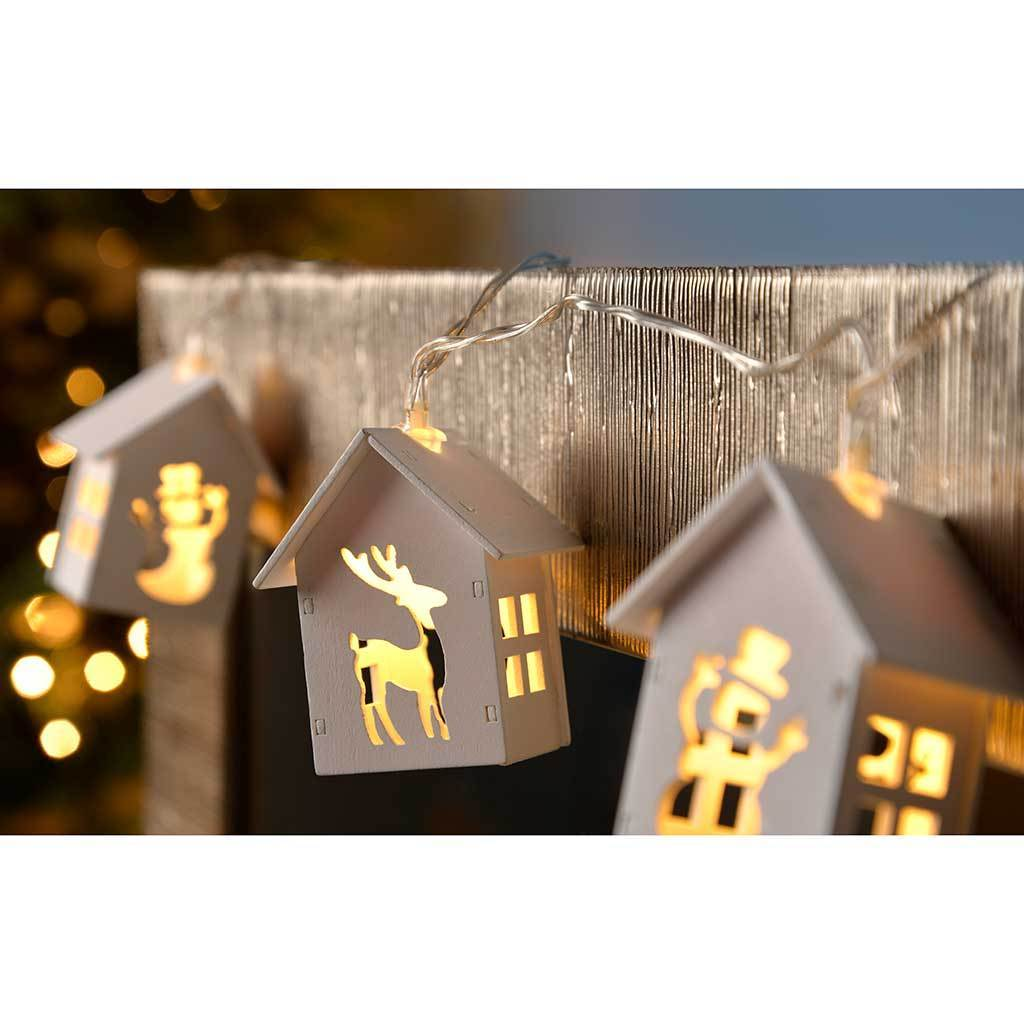 Reindeer and Snowman Wooden House Light String with 10-LED - White