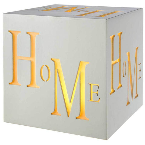 Pre-Lit LED Home Block Decoration, Wood, 20 cm - White
