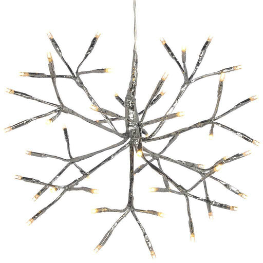 Pre-Lit Hanging Silver Branch Ball with 48 Warm White LED's, 30 cm