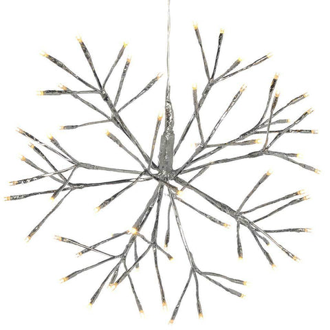 Pre-Lit Hanging Silver Branch Ball with 64 Warm White LED's, 40 cm