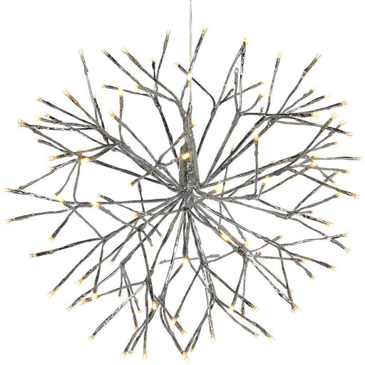 Pre-Lit Hanging Silver Branch Ball with 120 Warm White LED's, 50 cm