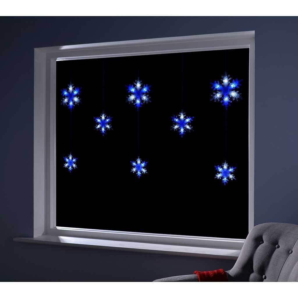 Multi-Function Snowflake Curtain Light with 48 LED - Blue & White