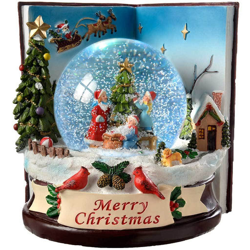 Children Book Colour Changing Snow Globe Christmas Decoration, 16.5 cm - Multi-Colour