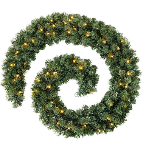 Extra Thick Pre-Lit 80 LED Pine Garland Christmas Decoration, Green, 9 ft