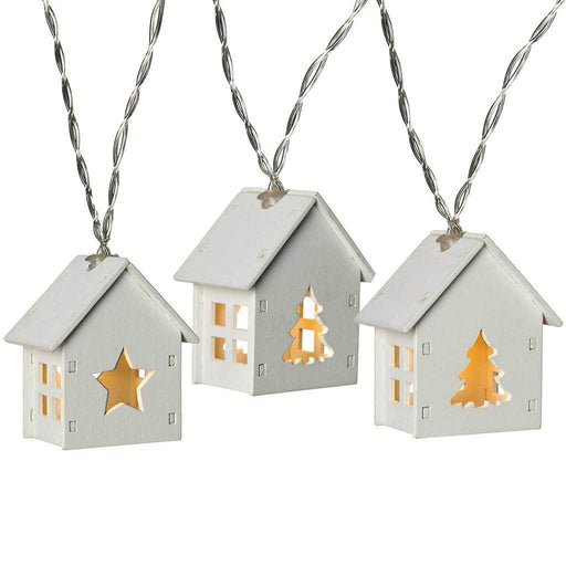 10-LED Stars and Trees Wooden House Light String - White