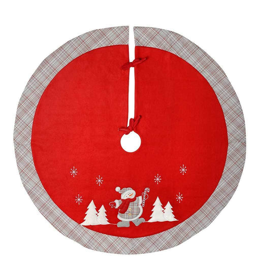 Dancing Snowman Tartan Design Christmas Tree Skirt Decoration, 107 cm -Red,