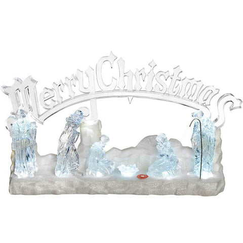 Pre-Lit Musical LED Merry Christmas Nativity Scene Decoration, Acrylic, 39 cm