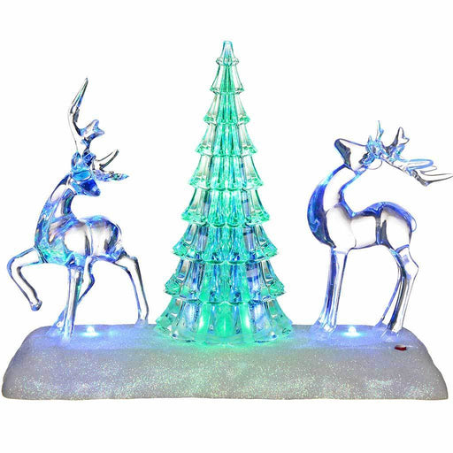 Pre-Lit Colour Changing LED Musical Christmas Tree and Reindeer Scene Decoration, Acrylic, 24 cm