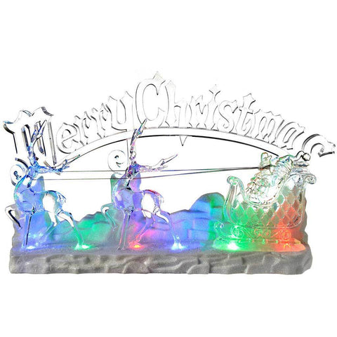 Pre-Lit LED Musical Merry Christmas Santa and Sleigh Scene Decoration, Acrylic, 39 cm