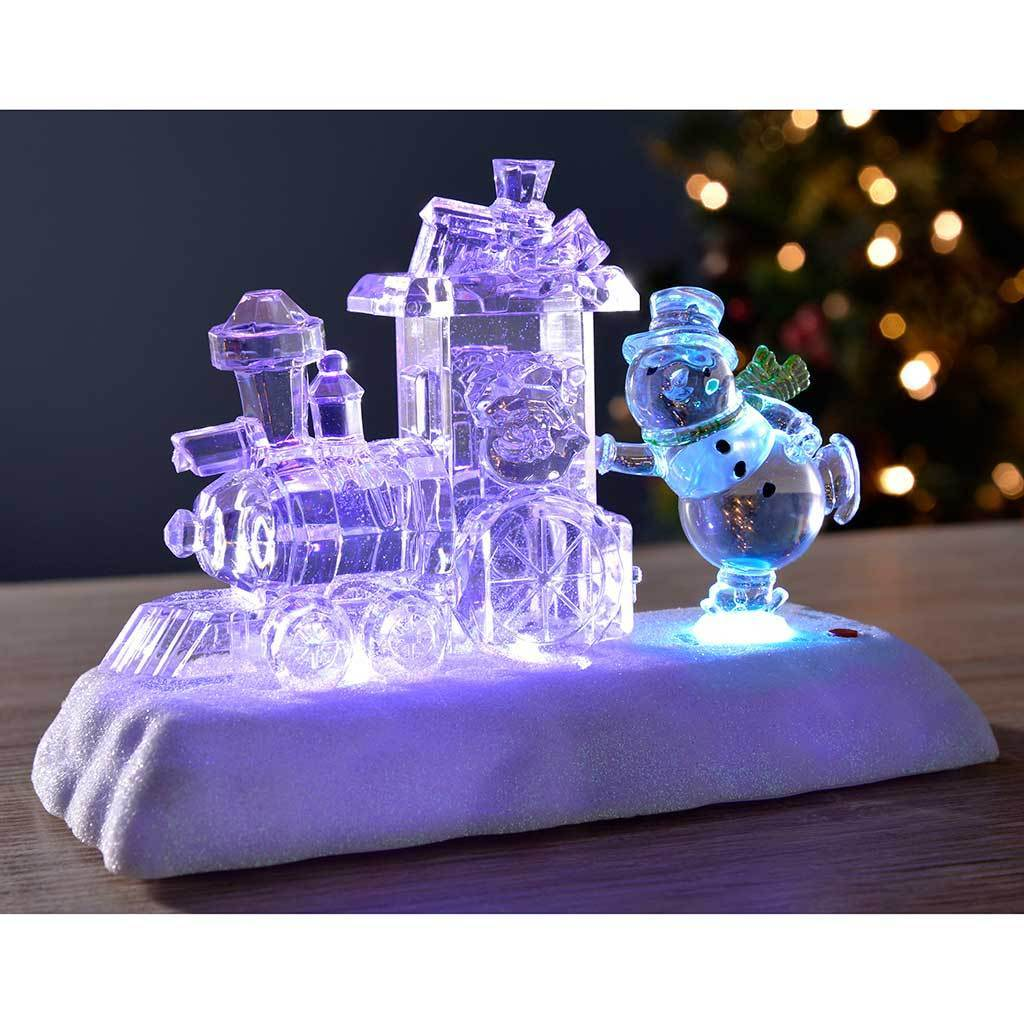 Pre-Lit Colour Changing LED Musical Christmas Train and Snowman Scene, Acrylic, 20 cm