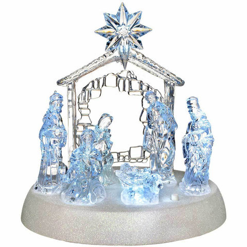 Pre-Lit LED Musical Nativity Scene Christmas Decoration, Acrylic, 18 cm