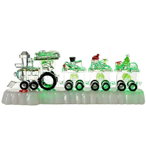 Pre-Lit Colour Changing LED Musical Christmas Train Set Decoration, Acrylic, 31 cm