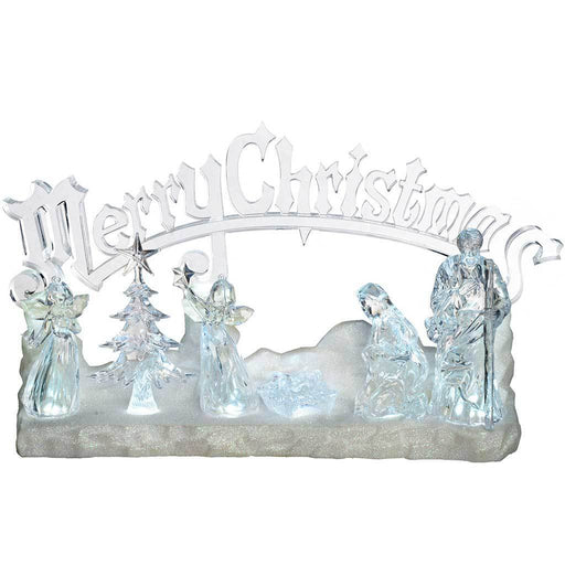 Pre-Lit LED Musical Merry Christmas Nativity Scene Decoration, Acrylic, 39 cm