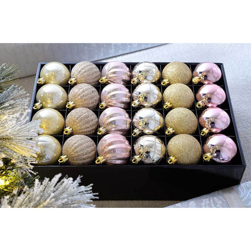 Shatterproof Luxury Christmas Tree Baubles, 48-Piece - Champagne/Mauve