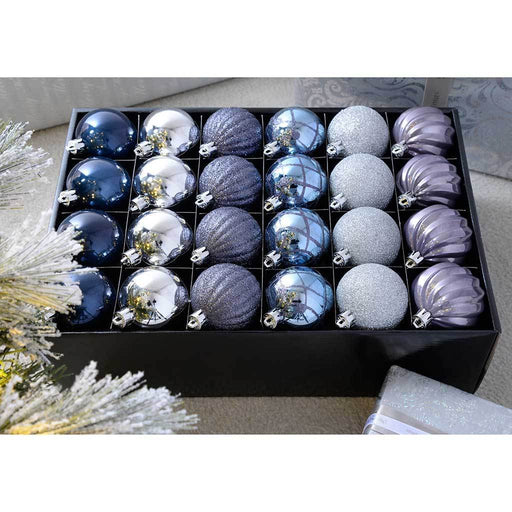 Shatterproof Luxury Christmas Tree Baubles, Blue/Charcoal/Dove Grey/Silver, 48-Piece