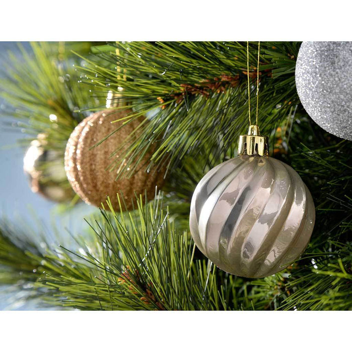 Shatterproof Luxury Christmas Tree Baubles, 48-Piece - Bronze/Silver/Gold