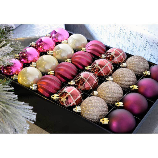 Shatterproof Luxury Christmas Tree Baubles, 48-Piece - Gold/Berry/Aubergine
