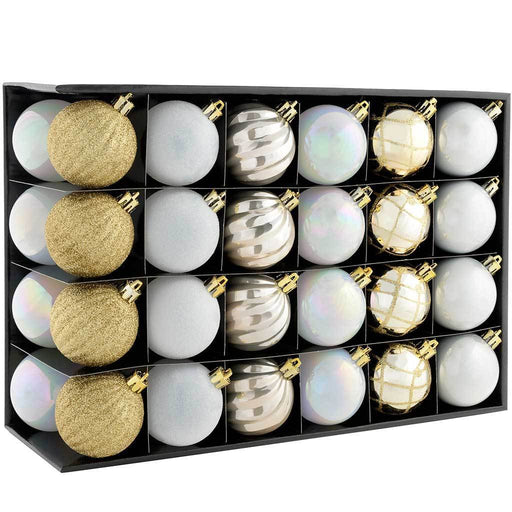 Shatterproof Luxury Christmas Tree Baubles, Gold/Silver/White, 48-Piece