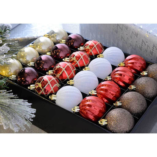 Shatterproof Luxury Christmas Tree Baubles, 48-Piece - Red/White/Gold/Chocolate/Berry