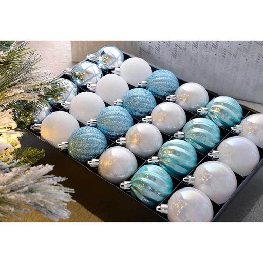 Shatterproof Luxury Christmas Tree Baubles, Silver/Blue/White, 48-Piece