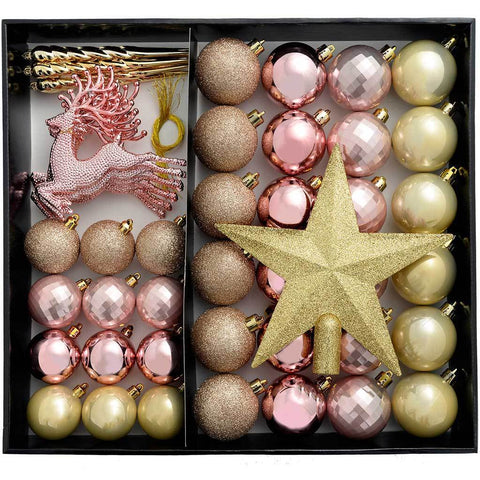 Shatterproof Luxury Christmas Tree Baubles, Champagne/Mauve Collection, 50-Piece