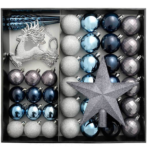Shatterproof Luxury Christmas Tree Baubles, Blue/Charcoal/Dove Grey/Silver, 50-Piece